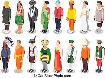 multinacional, mundo, isométrico, cultura, iconos