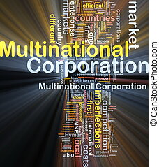 Multinational corporation background concept glowing -...