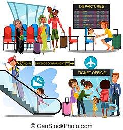 multinational, gens dans, aéroport, salle d'attente, homme, enfant, girl, dans, terminal, séance, près, bagage, famille, à, enfants, embarquement, avion, par, portail, femme, escalade, escalator, à, valise, vecteur, illustration