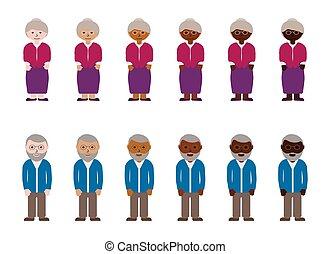 multinational, grands-parents, gens, color., illustration, ...