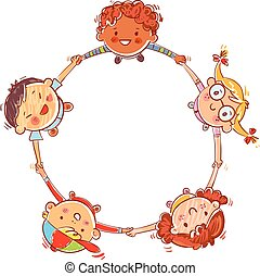 Five kids joining hands to form a circle