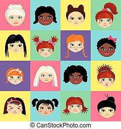 multinational, profil, têtes, figure, avatar, femme