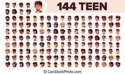 multinational, satz, leute, mann, female., asiatisch, ethnic., teenager, vector., europäische , wohnung, abbildung, portrait., emotions., arab., multi, gesicht, afrikanisch, avatar, icon., racial., benutzer
