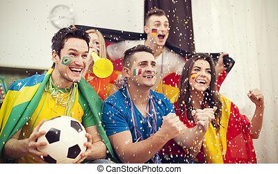 multinazionale, festeggiare, football, sostenitori, scopo