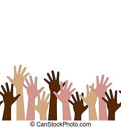multinazionale, seamless, su, lavoro squadra, persone, orizzontale, squadra, multicultural, modello, mani, folla