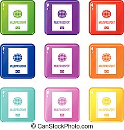 Multipassport icons 9 set
