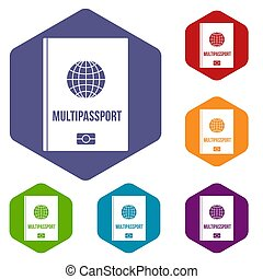 Multipassport icons set hexagon