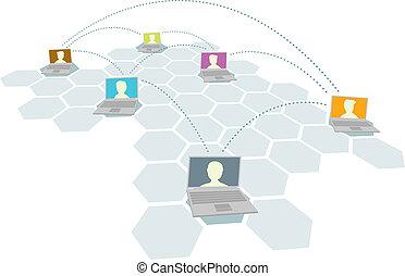 multipel, brugere, folk, /, computer netværk