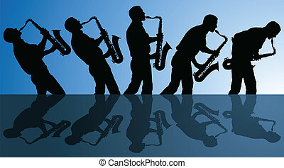 multiple angles of man playing the blues on a saxophone.