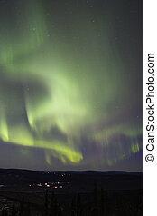Multiple aurora arcs in the sky