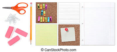 Multiple Back to School Student Supplies on a White Background