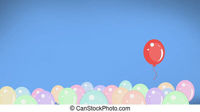 Multiple balloons against blue background - Animation of red...