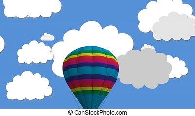 Animation of multiple colourful balloons, heart balloons and hot air balloon flying over clouds on blue background. Global interface technology identity concept digitally generated image.
