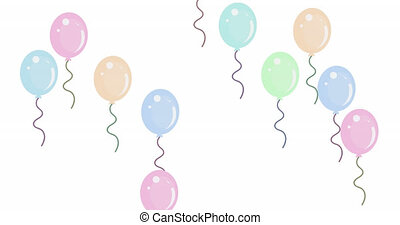 Multiple balloons flying against white background - ...