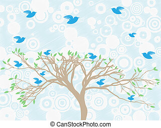 Multiple blue birds perch and fly a
