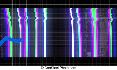 Multiple blue graphs moving over wow text in static effect over grid lines against black background. video game computer interface concept