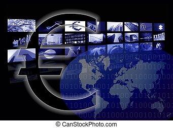 multiple, business, carte, écran, mondiale, constitué, euro