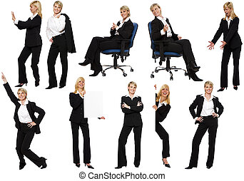 business - multiple business woman figures isolated on white