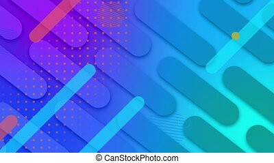 Animation of red and blue lines and circles with multiple capsule shapes moving diagonally in seamless loop over blue and purple background. Colour light and movement concept digitally generated image