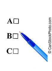 Multiple Choice, ABC, Four options