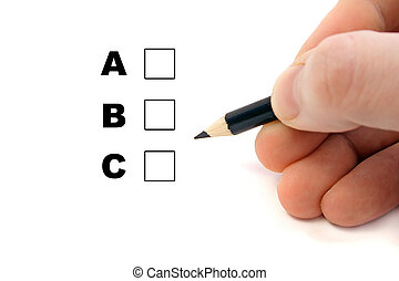Somebody does a multiple choice test. All isolated on white background.