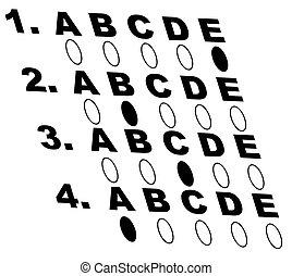 multiple choice style test or exam