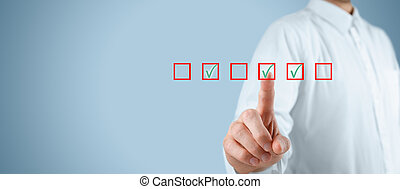 Multiple choices concept. Businessman click on multiple checkboxes.