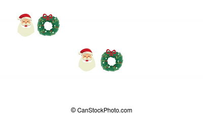 Animation of traditional Christmas pattern with Christmas wreath and Santa Claus head moving in seamless loop on white background. Christmas season festivity concept digitally generated image.