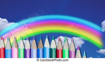 Animation of colored pencils in formation over rainbow and clouds on the blue background. Education back to school concept digitally generated image.