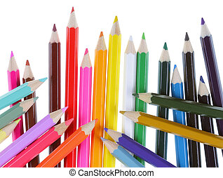 Multiple colored pencils on a white background
