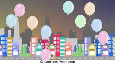 Animation of multiple colourful balloons floating over modern cityscape moving on seamless loop in the background. Celebration birthday party concept digitally generated image.