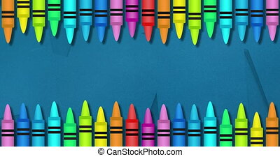 Animation of multiple colourful crayons on top and bottom over blue background. Global science learning education concept digitally generated image.
