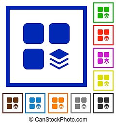 Multiple components flat color icons in square frames on white background