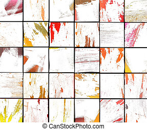 multiple, couleur, résumé, graffiti, brosse, carreau, blanc, toile de fond, 3d