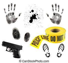Multiple Crime Elements on White - Crime Scene Items: Blood...
