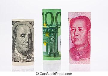 Multiple Currencies - American dollars. Chinese Yuan. Euro...