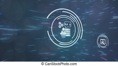 Animation of digital interface with network of connections and digital icons in glowing tunnel. Global technology and network of connections concept digitally generated image.