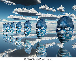 multiple disembodied faces hover in surreal scene