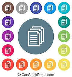Multiple documents flat white icons on round color backgrounds. 17 background color variations are included.