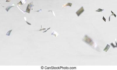 Multiple dollar bills fall, realistic 3D animation