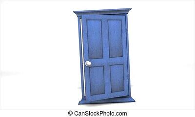 Concept animation multiple door open.