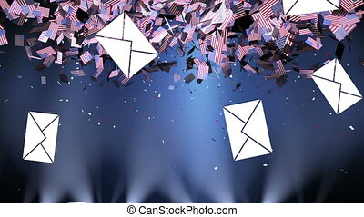 Animation of multiple American flags and falling envelopes over spotlights on blue gradient background. Postal voting elections in Covid 19 pandemic concept digitally generated image.