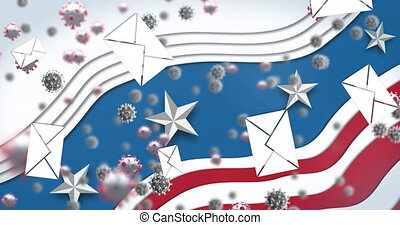 Animation of envelopes and Covid 19 cells over American flag waving on blue background. Postal voting elections in Covid 19 pandemic concept digitally generated image.