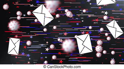 Animation of envelopes and Covid 19 cells over American flag stars and colours in the background. Postal voting elections in Covid 19 pandemic concept digitally generated image.