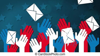 Animation of  red, white and blue cutout hands with American flag and falling envelopes over blue stars in background. Postal voting elections in Covid 19 pandemic concept digitally generated image.