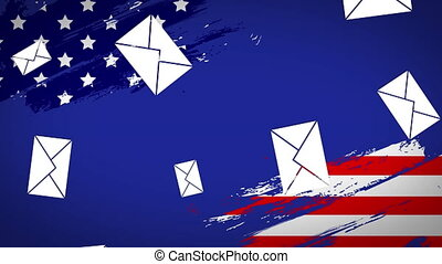 Animation of envelopes falling with American flag on blue background. Postal voting elections in Covid 19 pandemic concept digitally generated image.