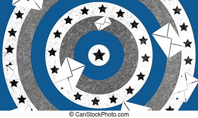 Animation of envelopes falling over circles with American flag spinning in the background. Postal voting elections in Covid 19 pandemic concept digitally generated image.