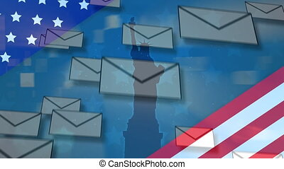Multiple envelope icons falling over American flag against Statue of Liberty