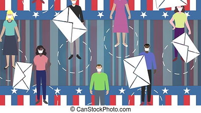 Animation of envelopes falling over people wearing face masks and American flag in the background. Postal voting elections in Covid 19 pandemic concept digitally generated image.