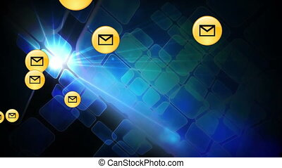 Animation of multiple social media envelope icons floating against blue squares moving on black background. Global social media network concept digitally generated image.
